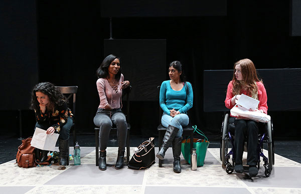 Sofiya Cheyenne, Jaleesa Graham, Dipti Mehta and Kiera Allen from GIRL#2 by Bekah Brunstetter in THE OTHER PLAYS (photo by Carol Rosegg)